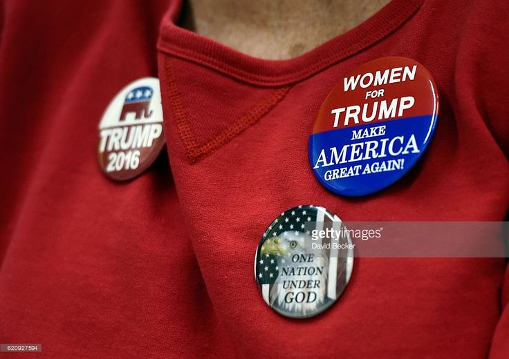A woman displays support for Republican presidential nominee Donald Trump at a get-out-the-vote rally at Ahern Manufacturing on November 3, 2016 in Las Vegas, Nevada. Donald Trump Jr. spoke at the event and urged people to vote for his father during early voting, which ends on November 4 in the battleground state, and on Election Day November 8.