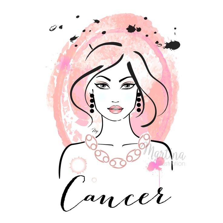 Cancer horoscope zodiac sign fashion illustration