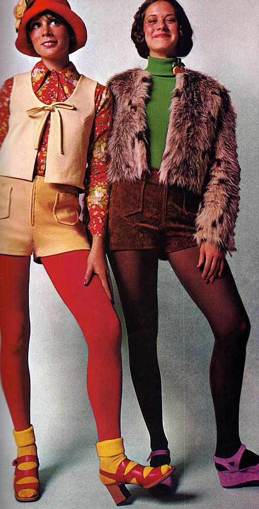 1970s fashion...yep wore tights with shorts..lol