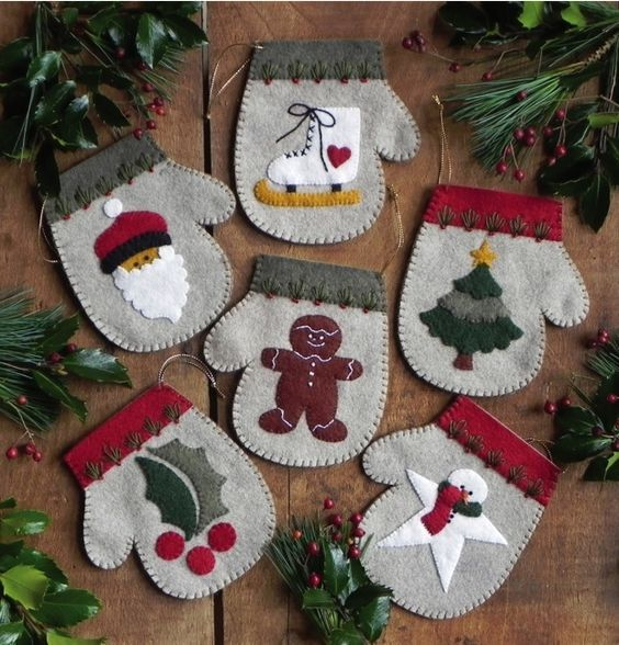 Homemade Snowman Ornaments | ornaments have classic handmade appeal. Each felt mitten ornament ...