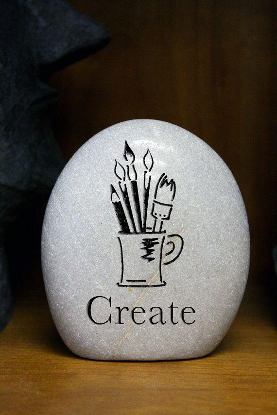 Items similar to Create Stone- Engraved Stone- Custom stone- Musician- Writer…