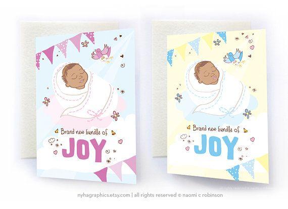 Mixed Race  Biracial Baby New Baby Card Congratulations