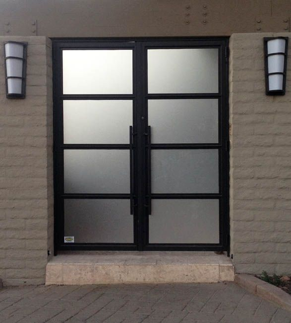 Eurofineline by colletti design steel and glass front for Residential front doors