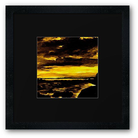 """""""Golden Sunset"""" framed print by GittaG74 - The original is an oilpainting on hardboard by a dimension 60 × 60 cm • Also buy this artwork on wall prints, apparel, stickers und more."""