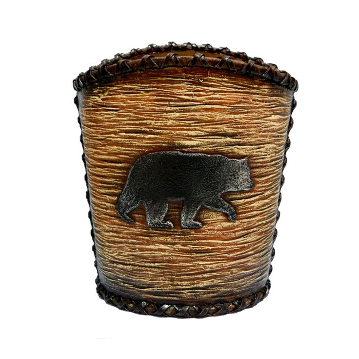 HiEnd Accents Rustic Bear Waste Basket - WB3110
