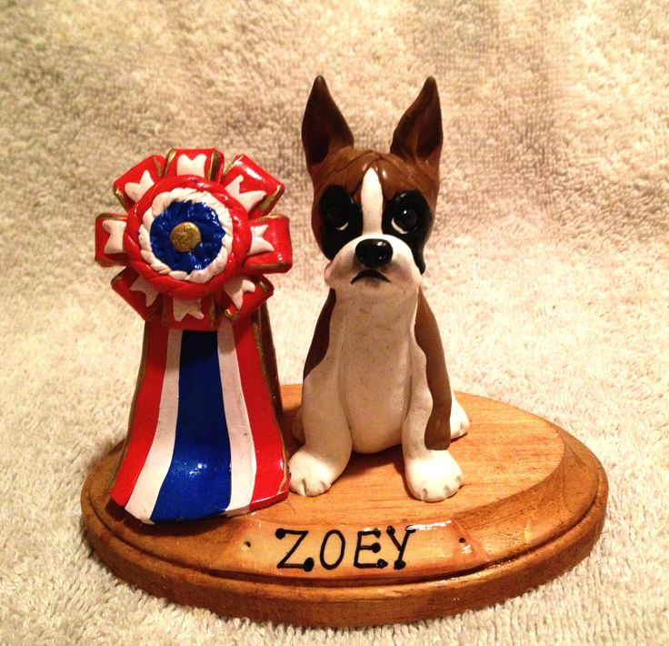 """Polymer Clay Boxer Dog...Zoey """"Best in Show"""" Custom Order!"""