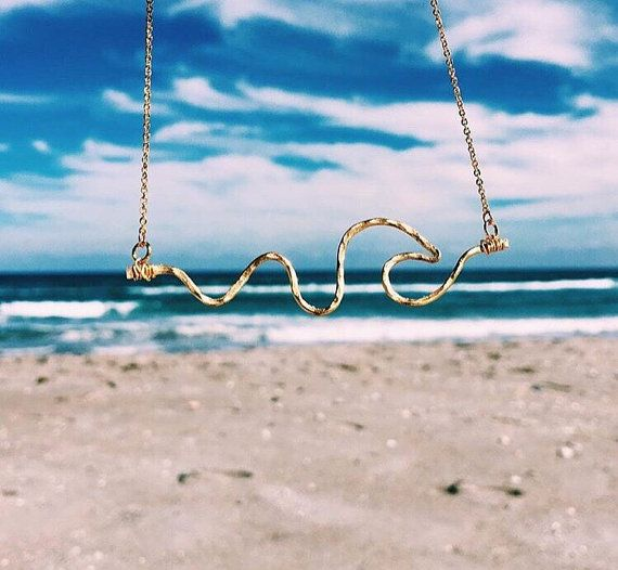 Wave Necklace Beach Necklace Gold Wave Necklace Lifeguard Necklace