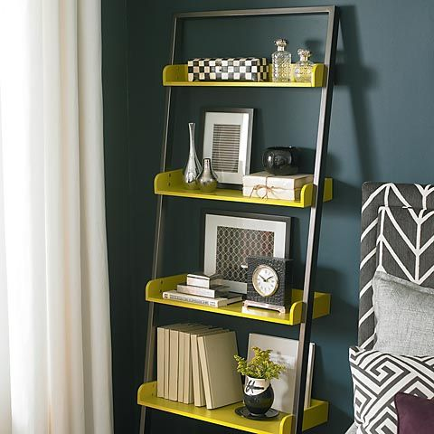 16 best corner shelving images on pinterest corner for Black white and yellow bathroom ideas