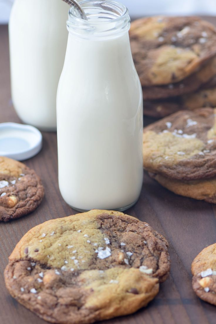 Malted Chocolate Chip and Reverse Chip Cookies from the new cookbook Marbled, Swirled & Layered. Like your favorite cookie on steroids! Step-by-step instructions to achieve this cool effect!