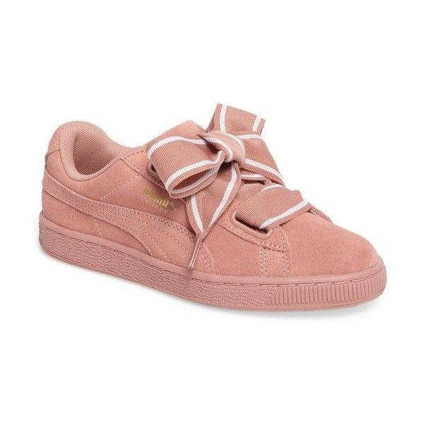 Women's Puma Basket Heart Sneaker (1,485 MXN) ❤ liked on Polyvore featuring shoes, sneakers, wide fit shoes, wide width sneakers, puma trainers, puma footwear and heart shoes