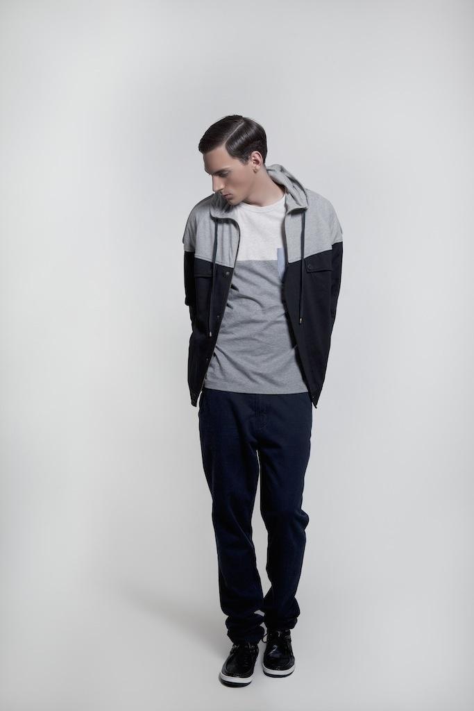 Menswear. Two-tone Jacket | Grey bi-Color Contrast Tee | Black Chinos | Black Sneakers