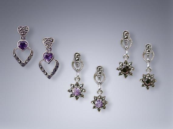 Sterling Silver Faceted Blue Topaz Garnet Daisy Earring Flower Drop Earrings Vintage Earrings November Birthstone Gift Small Flower Drops