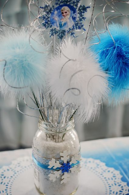 Love this centerpiece at a Frozen Birthday Party!  See more party ideas at CatchMyParty.com!