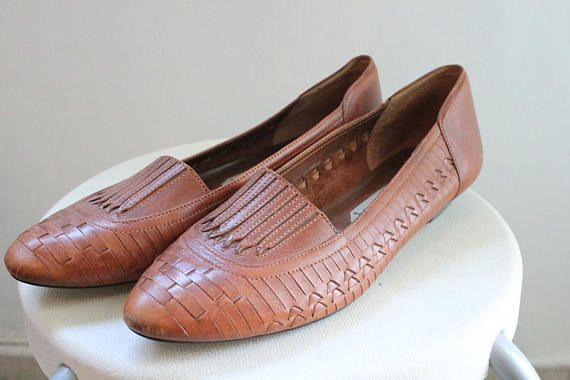 80s brown leather sandals woven huaraches wedge sandals womens