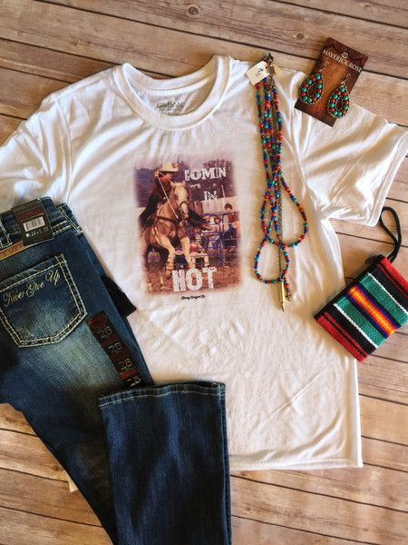 Newest addition to our Retro Rodeo Collection. Comin in HOT... unisex t size small-3XL Classy Cowgirl Co- Gypsy Cowgirl ,Fun & Funky Western clothing, jewelry, & Accessories by R. Cinco Ranch, Ali Dee