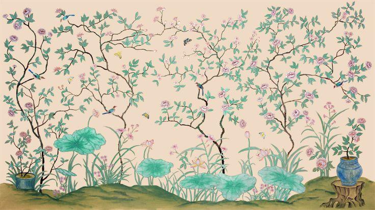 Klassieke stijl elegante handgeschilderde zijden behang schilderen bloemen met vogels wandbekleding veel patronen en achtergrond optioneel