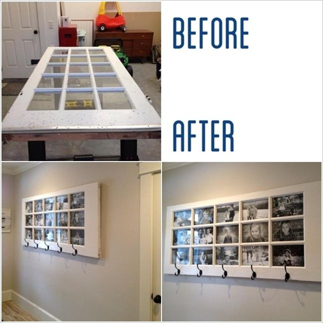This Old Door Photo Frame and Coat Hanger is Just Ideal for a Hallway