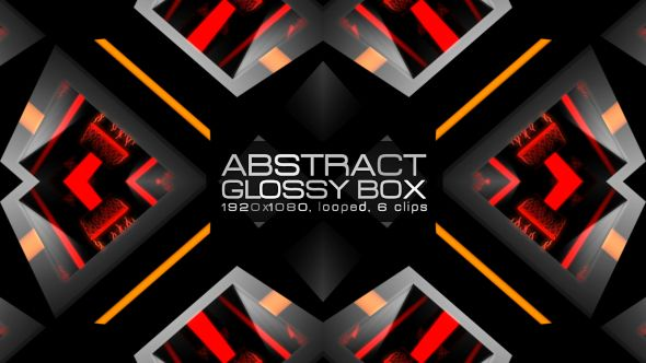 Abstract Glossy Box Video Animation | 6 clips | Full HD 1920×1080 | Looped | Photo JPEG | Can use for VJ, club, music perfomance, party, concert, presentation | #3d #box #colourful #dance #edm #geometric #glossy #glow #loop #music #orange #pattern #sequence #spinning #vj