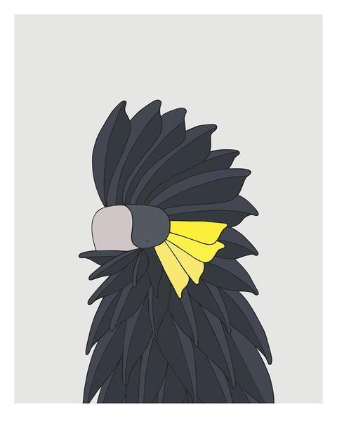 Yellow-Tailed Black Cockatoo art  - bird art by Australian graphic designers Eggpicnic.