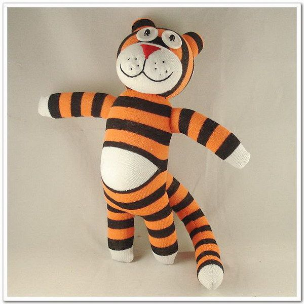 (For the babe) Handmade Paunchy Sock Tiger Stuffed Animal Doll Baby Toys. $14.99, via Etsy.