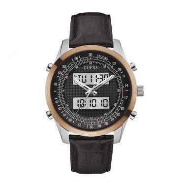 W0861G1 Ανδρικό ρολόι GUESS με αναλογικές και ψηφιακές ενδείξεις, σκούρο καντράν και καφέ λουράκι από δέρμα | Ρολόγια GUESS ΤΣΑΛΔΑΡΗΣ στο Χαλάνδρι #Guess #αναλογικο #ψηφιακο #δερμα #ρολοι