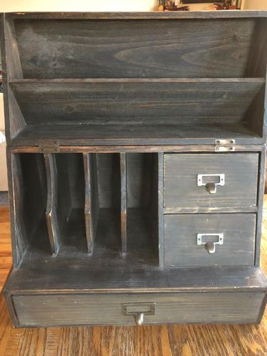 $10/obo Small countertop organizer/hutch with distressed wood look. Dimensions: 10 deep, 18 wide, 12 tall (closed), 20.5 tall (open) Has 2 small drawers, 1 long drawer, mail slots (see photo). This is a beautiful piece but our new house just doesnt have a good place for this to go.