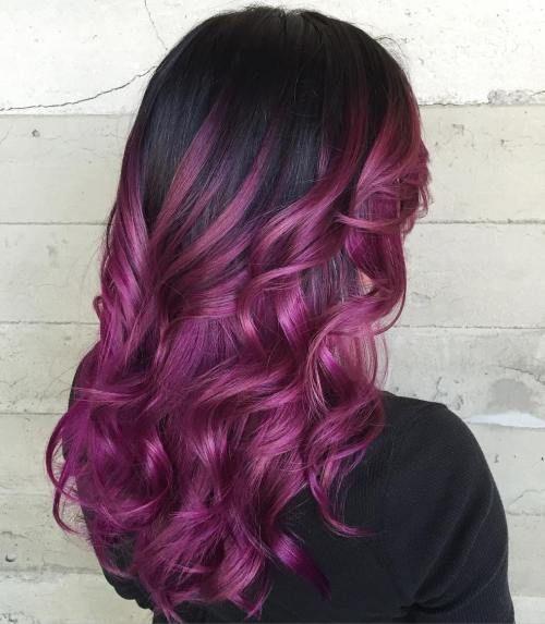 rose violet coiffures fraches cheveux noir violet black hair balayage cosmo conseil beaut violet balayage ombre black hair - Coloration Violine Sur Cheveux Noir