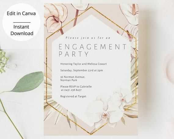 Boho Engagement Party Invitation Template Bohemian Party Etsy Engagement Party Invitations Wedding Party Invites Couples Shower Invitations