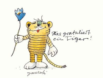 Janosch Postkarte Tiger Gratuliert-1147251