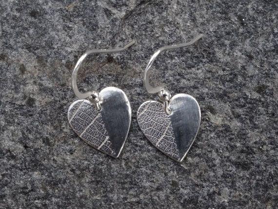 Heart earrings leaf texture heart just by SilverWindsJewellery https://www.etsy.com/uk/listing/257046770/heart-earrings-leaf-texture-heart-just?ref=shop_home_active_9