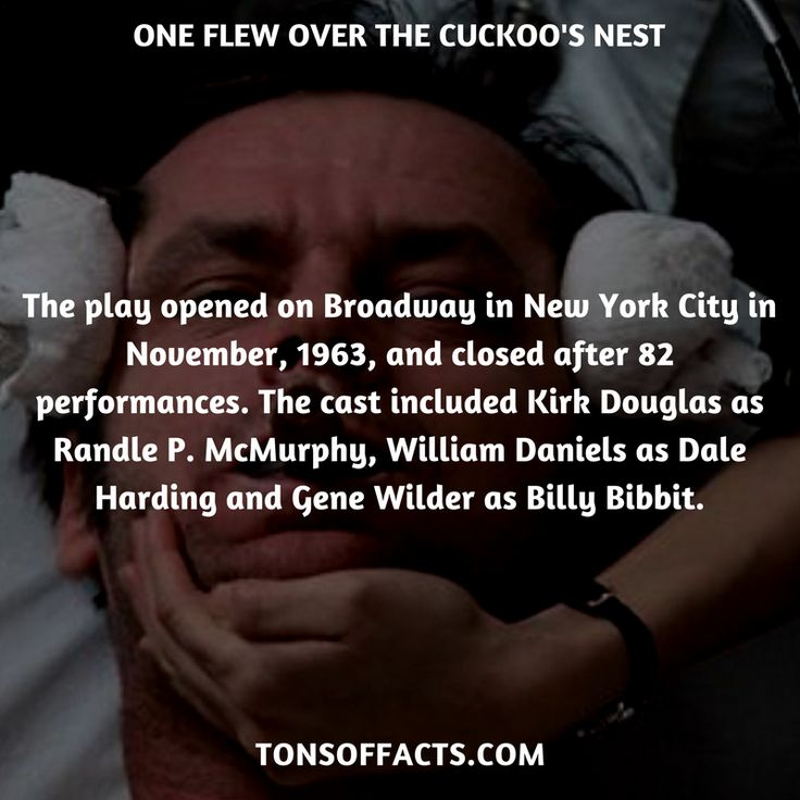 The play opened on Broadway in New York City in November, 1963, and closed after 82 performances. The cast included Kirk Douglas as Randle P. McMurphy, William Daniels as Dale Harding and Gene Wilder as Billy Bibbit. #oneflewoverthecuckoosnest #movies #interesting #facts #fact #trivia #awesome #amazing #1 #memes #moviefacts #movietrivia #oneflewoverthecuckoosnestfacts #oneflewoverthecuckoosnesttrivia