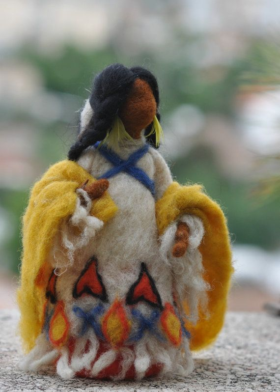 Needle felted Waldorf DollNative American N12Soft by darialvovsky