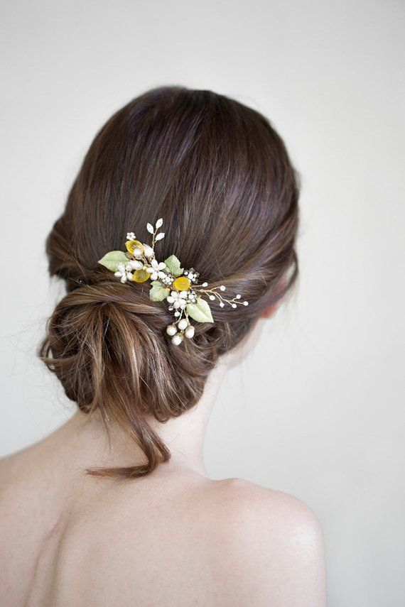 Flower And Lemon Hair Comb Bridal Hair Jewelry Wedding Headpiece Fruit Accessory Yellow Ha Hair Jewelry Wedding Bridal Hair Jewelry Yellow Hair Accessories