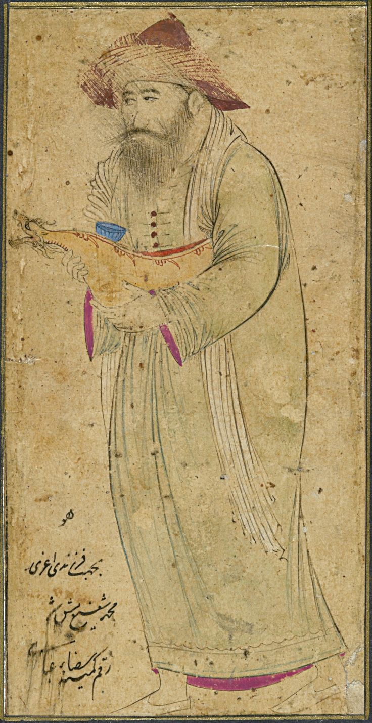A DERVISH HOLDING A DRAGON-FORM KASHKUL,   SIGNED BY REZA-I 'ABBASI,   PERSIA, SAFAVID, ISFAHAN, 17TH CENTURY  Ink and pencil heightened with gold on paper, some use of colour, the bearded dervish facing left holding a kashkul with dragon head terminus, signed lower left; drawing laid down on a large purple album page ruled in red and gold   12.5 x 6.1 cm.
