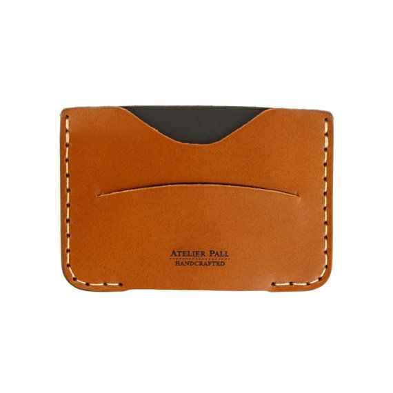 Wallet slim leather document wallet card wallet men women wallet for ID cards and money holder in tan brown duo tone