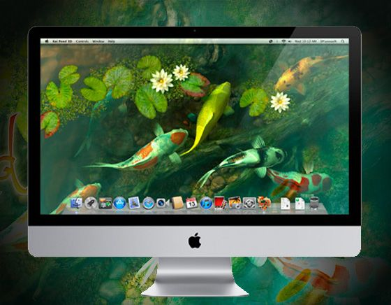 Koi pond 3d mac osx aquarium anim en fond d 39 ecran for Poisson koi aquarium