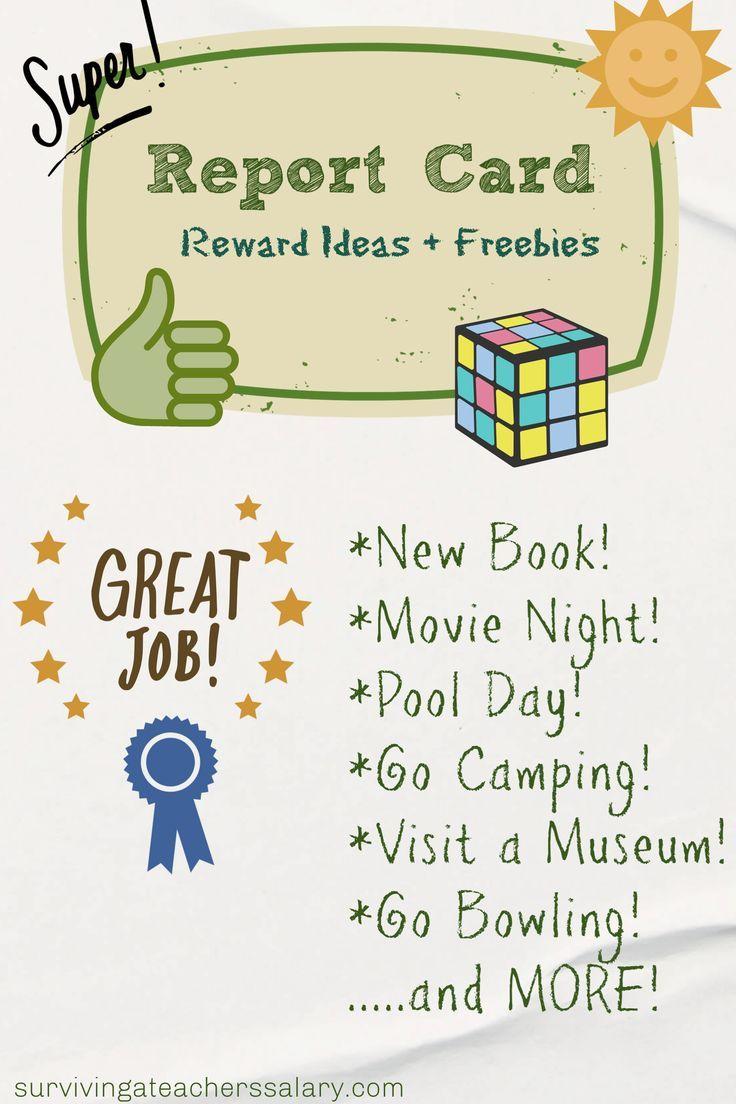 Good Report Card Reward Ideas Report Card Freebies Report Card Grade Rewards Good Grades
