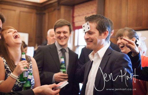 Candid Wedding Photography. Wedding Magician. Wedding guests.