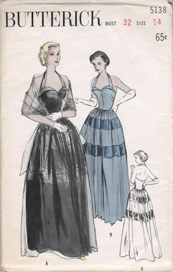 Butterick 5138, circa 1950.  Enchanting Evening Gown:  Bouffant evening gown in the romantic mood. Bodice fastens halter fashion, has cuff
