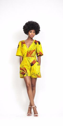 Ari Cross Front Romper ~African fashion, Ankara, kitenge, African women dresses, African prints, Braids, Nigerian wedding, Ghanaian fashion, African wedding ~DKK