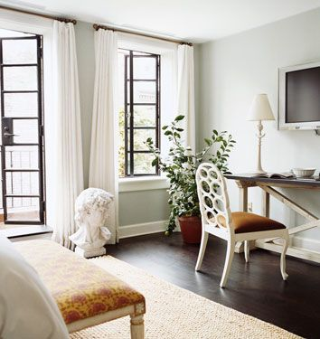 katie lee joel's west village townhouse designed by nate berkus  benjamin moore cliffside grey- MBR paint?