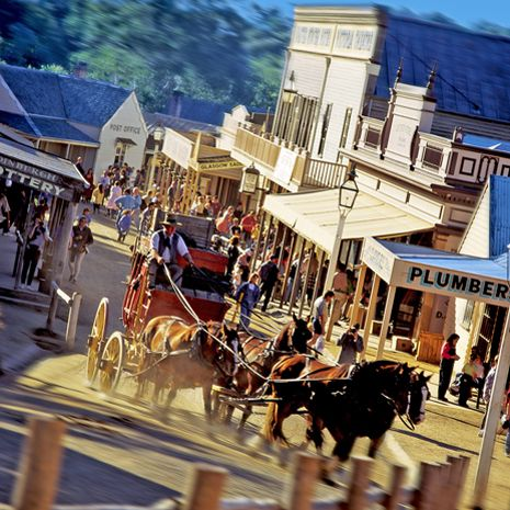 Gold Rush Town - Sovereign Hill, Ballarat, Victoria. Australia had a huge gold rush in the 1850s, particularly in Victoria. Sovereign Hill takes you back to (kind of) what it was like back then.