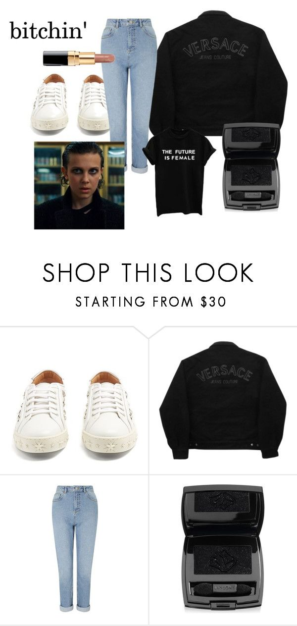 """""""bitchin'"""" by el011 ❤ liked on Polyvore featuring Aquazzura, Versace Jeans Couture, Miss Selfridge and Lancôme"""