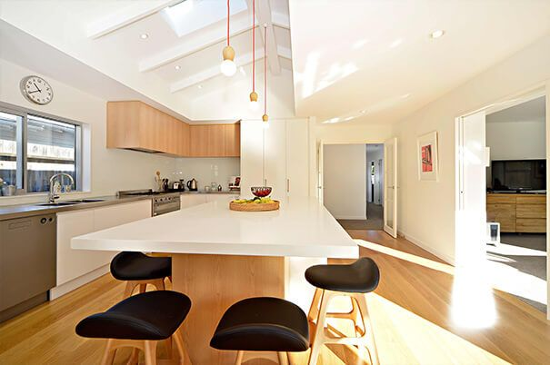 Jalcon :: Kitchens, Entrances wooden floor, light cabinetry, but not all white, raked ceiling, light