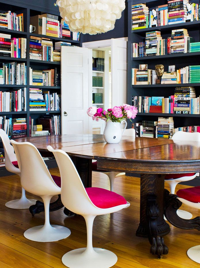 i LOVE book cases!: Dining Rooms, Spaces, Bookshelves, Idea, Modern Chairs, Home Libraries, Color, Tulip Chairs, Wood Tables