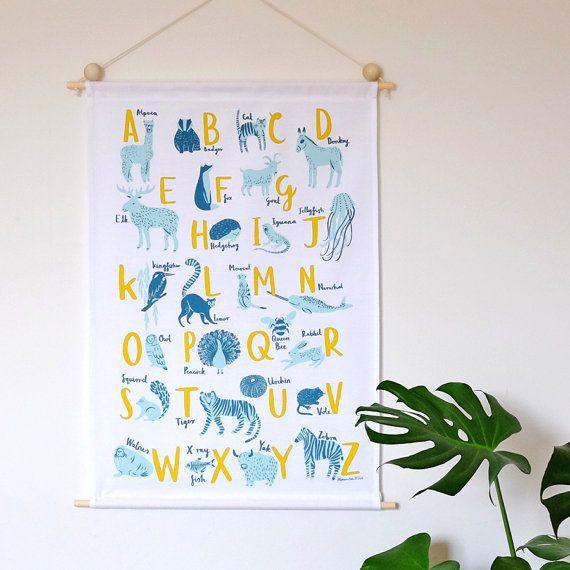 PREORDER PRICE A-Z of Animals Screen Printed Wall Hanging by Stephanie Cole Design ©Stephanie Cole, 2016  #nurseryart #wallart #wallhanging #atoz