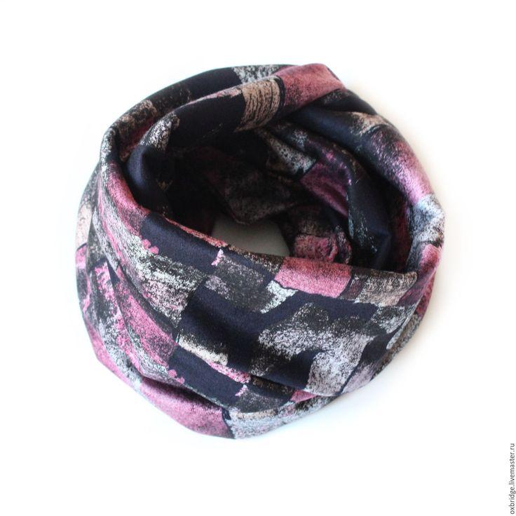 Купить Шарф снуд из трикотажа / Снуд розово-черный / Снуд шарф трикотаж