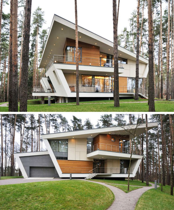 16 Examples Of Modern Houses With A Sloped Roof | Sloped roofs on this modern house match the rest of the lines used on the exterior to create a futuristic looking home.
