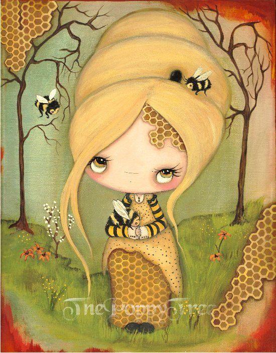 Impresión abeja abeja chica arte abeja panal miel por thepoppytree