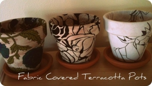 fabric covered terracotta pots!